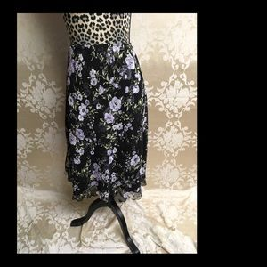 Black and purple floral lined skirt